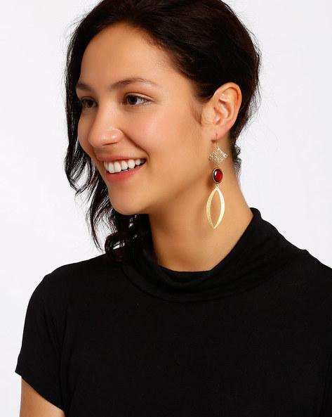 Gold-Plated Dangler Earrings By Shabnam Gitanjali ( Red ) - 460012327001