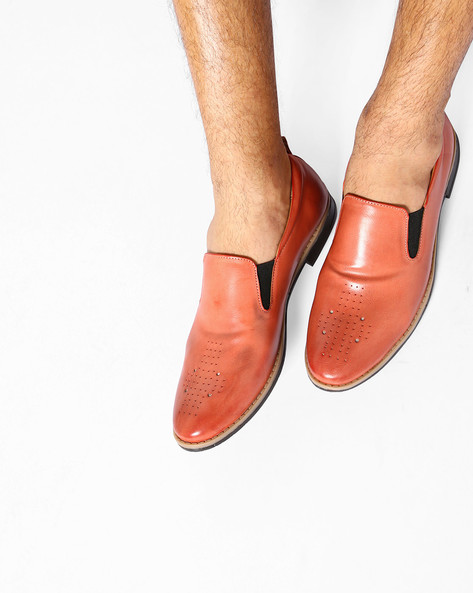 Slip-On Casual Shoes With Perforations By ESCARO ( Cherry )