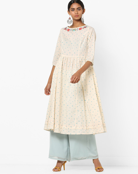 Splatter Print Flared Kurta With Embroidery By AJIO ( Offwhite )