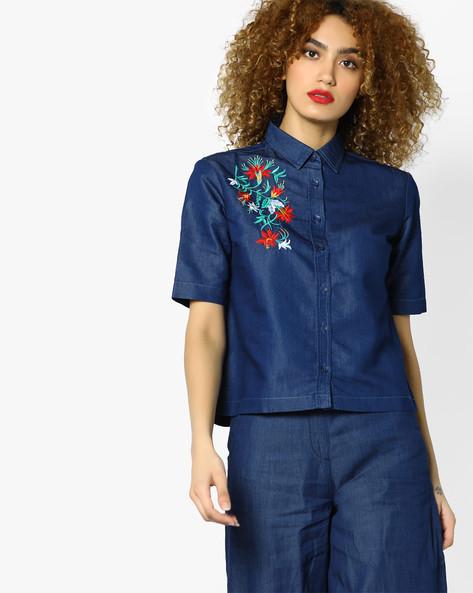 Denim Short Shirt With Floral Embroidery By AJIO ( Indigo )