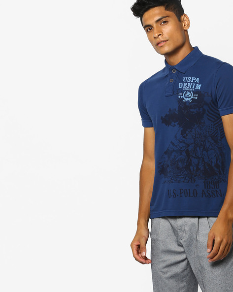 Printed Polo T-shirt With Vented Hem By US POLO ( Denim )