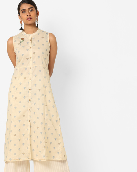 Floral Print A-line Kurta With Front-Slit Hem By AJIO ( Offwhite )