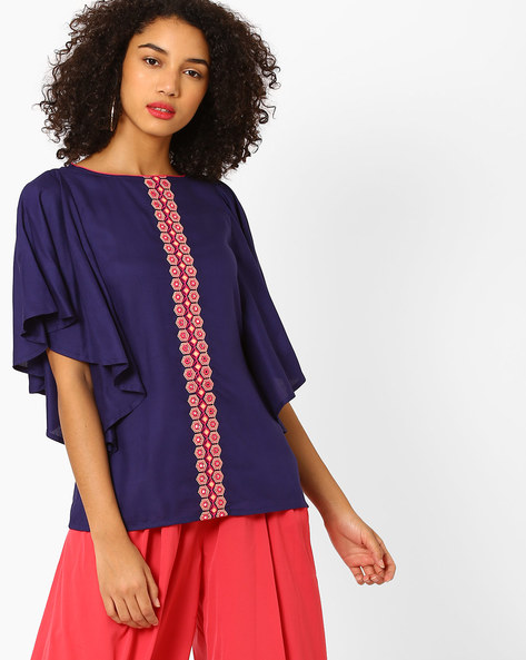Printed Top With Butterfly Sleeves By AJIO ( Navyblue )
