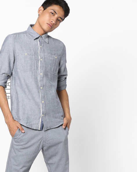 Cotton Twill Shirt With Patch Pockets By ALCOTT ( Navyblue )