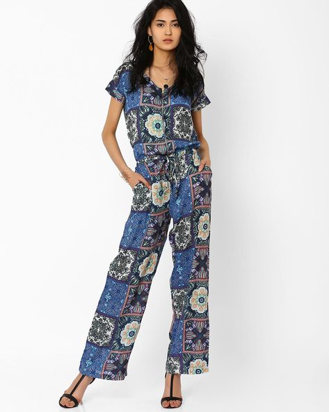Printed Jumpsuit By AJIO ( Blue )