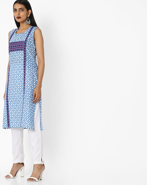 Sleeveless Printed Kurta With Contrast Taping By Aaboli ( Blue )