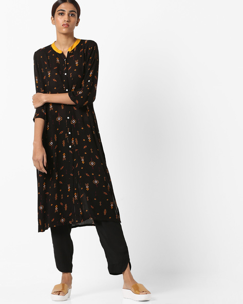 Printed Straight Kurta With Contrast Collar By AVAASA MIX N' MATCH ( Black )