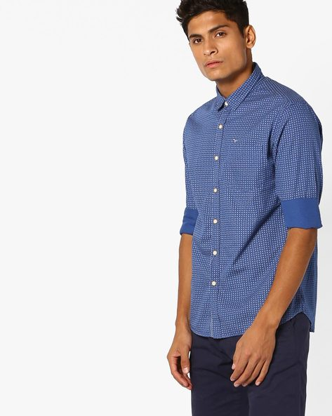 Printed Shirt With Patch Pocket By FLYING MACHINE ( Blue )
