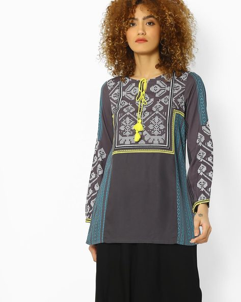 Printed Tunic With Tassel Tie-Up By W ( Ltgrey )