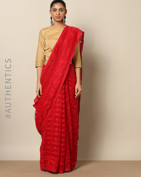 Handloom Bengal Pure Silk Cotton Saree By Indie Picks ( Red )