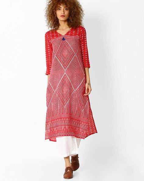Geometric Print Straight Kurta By Global Desi ( Red )