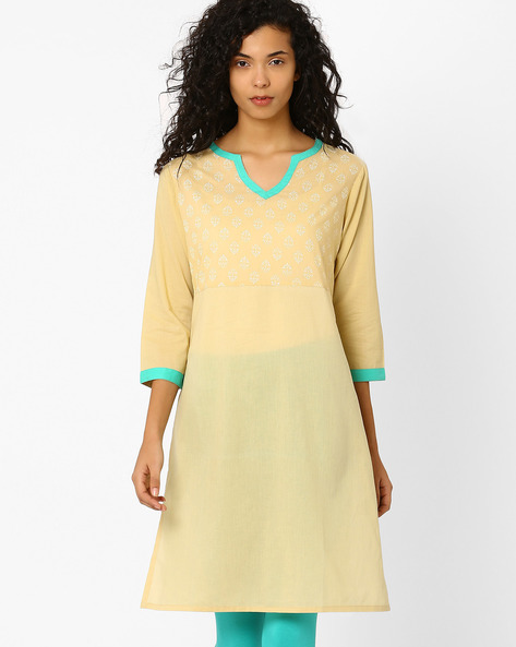 Kurta With Printed Bodice By AJIO ( Beige )