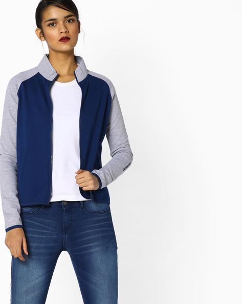 Colourblock Printed Sweatshirt By AJIO ( Blue )