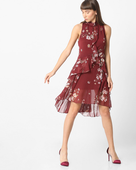 Floral Print A-line Dress With Ruffled Panels By Oxolloxo ( Wine )