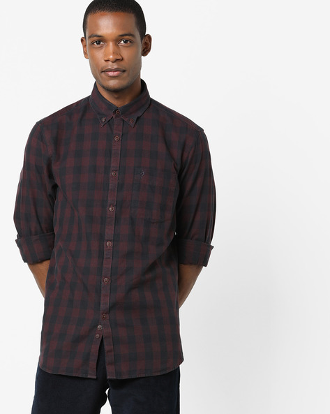 Checked Shirt With Patch Pocket By INDIAN TERRAIN ( Navy )