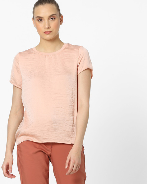 Round-Neck Crushed Top By Vero Moda ( Rednavy )