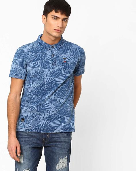 Tropical Print Slim Polo T-shirt By DNMX ( Mediumblue )