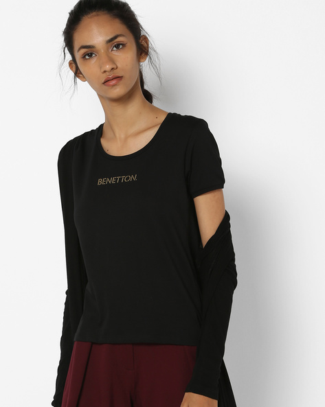 Cotton T-shirt With Printed Branding By UNITED COLORS OF BENETTON ( Black )