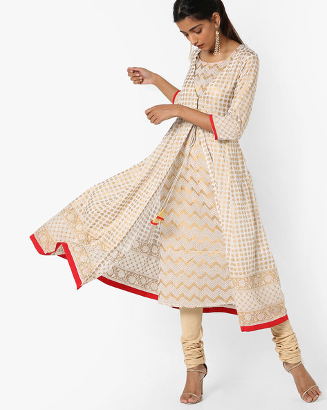 Foil Print Layered Kurta With Tie-Up By Melange By Lifestyle ( Offwhite )