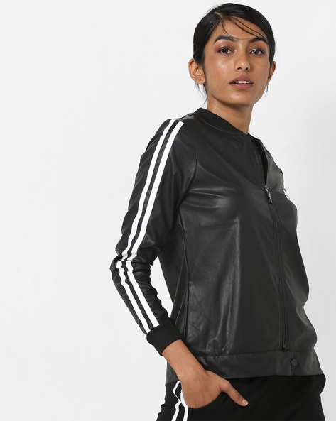 Zip-Front Jacket With Contrast Tapings By KAPPA ( Black )