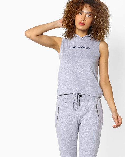 Hooded T-shirt With Tie-Up Waist By AJIO ( Greymelange )