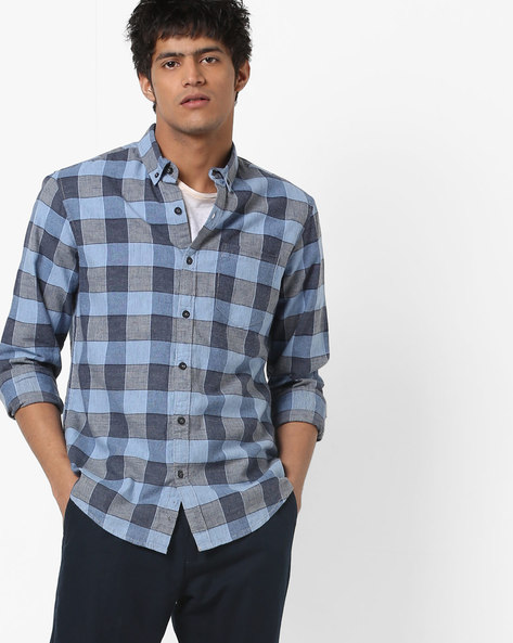 Checked Slim Fit Shirt With Patch Pocket By AJIO ( Blue ) - 460146388007
