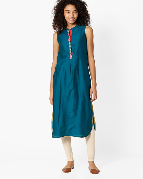 Straight Kurta With Embroidered Panel By Indian Ink ( Green )