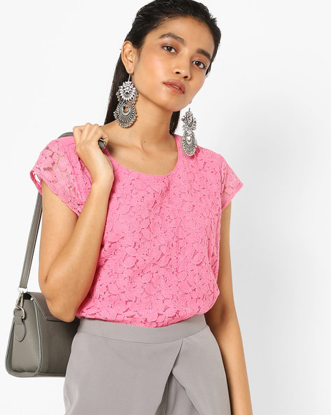 Floral Lace Top With Cap Sleeves By AJIO ( Pink )