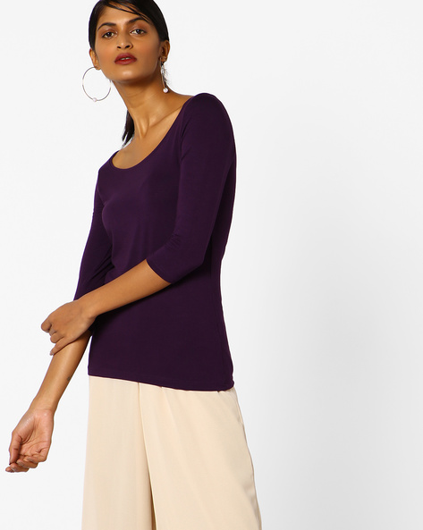 Knitted Top With Ribbed Neckline By CODE By Lifestyle ( Purple )