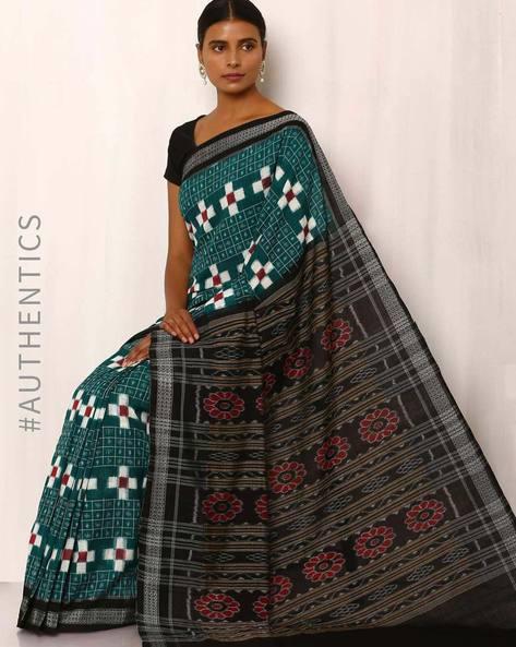 Handwoven Sambalpuri Double Ikat Cotton Saree By GoCoop ( Blue )