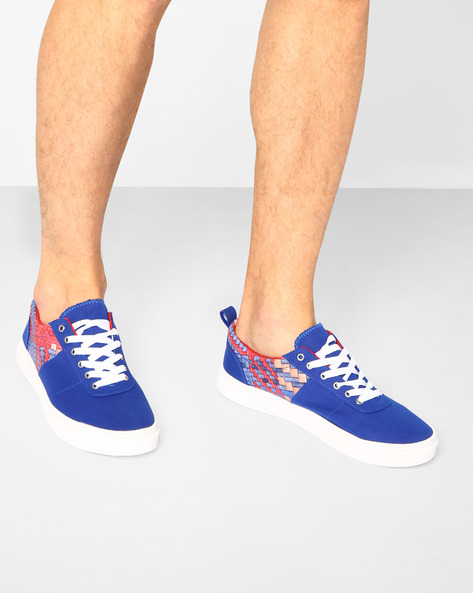 Printed Low-Top Sneakers With Lace-Up Fastening By Nuboy ( Blue )