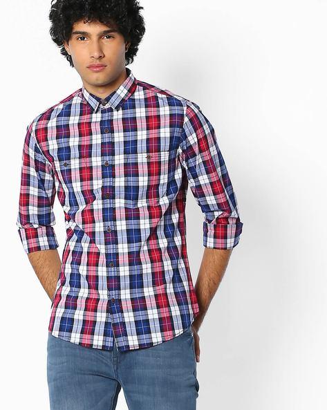 Yarn-Dyed Slim Shirt By AJIO ( Blue )