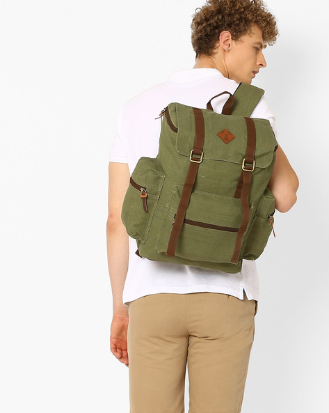 Canvas Backpack With Flap Closure By AJIO ( Olive )