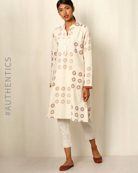 Handblock Print Cotton Kurta By Ek Taara ( White )
