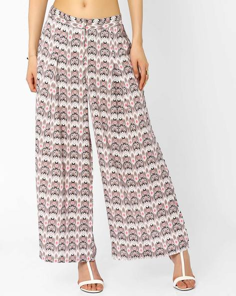 Printed Palazzo Pants By AJIO ( Offwhite )