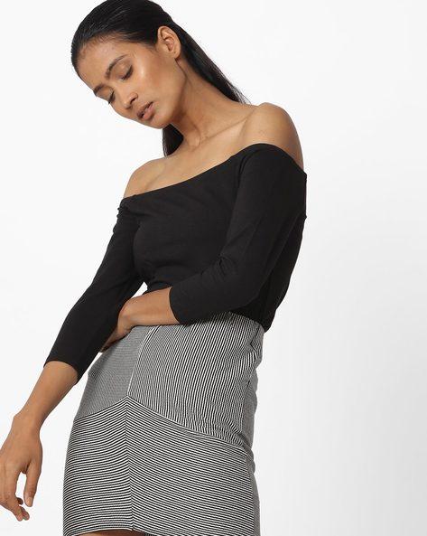 Off-Shoulder Top With Raglan Sleeves By Vero Moda ( Black )