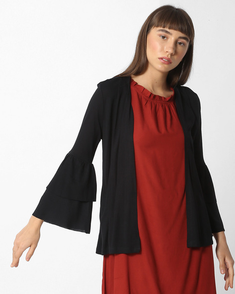 Open-Front Shrug With Tiered Bell Sleeves By CODE By Lifestyle ( Black )