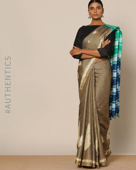 Pure Silk Tussar Desi Shibori Saree By Rudrakaashe-MSU ( Blue )