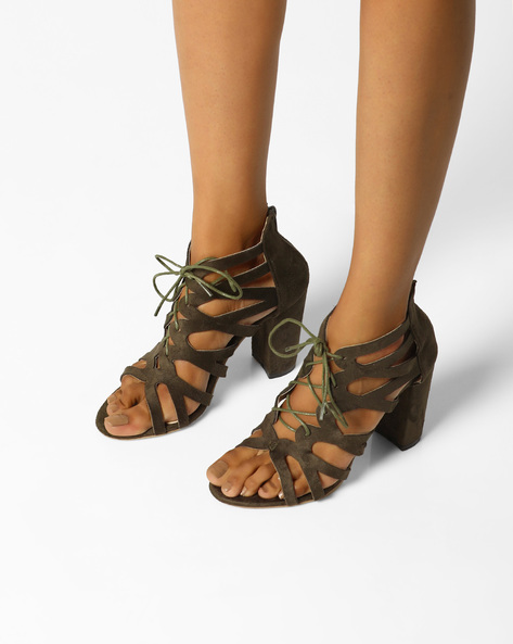 Tie-Up Block Heels With Laser Cut-Outs By MFT Couture ( Olive )
