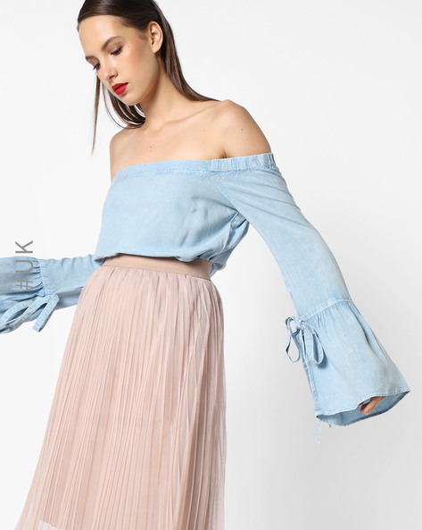 Off-Shoulder Blouson Top With Flounce Sleeves By INFLUENCE ( Blue )