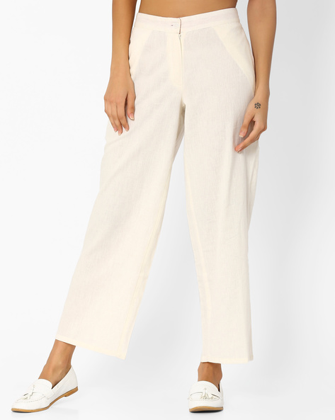 Slim Fit Palazzo Pants By AJIO ( Offwhite )