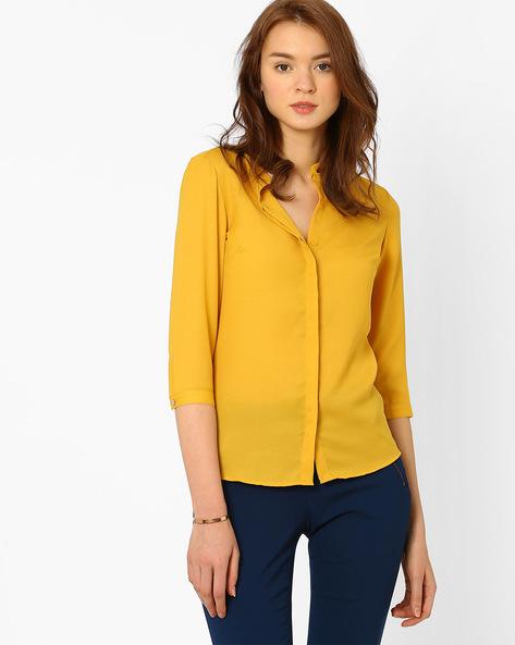 Shirt With High-Low Hem By AJIO ( Yellow )