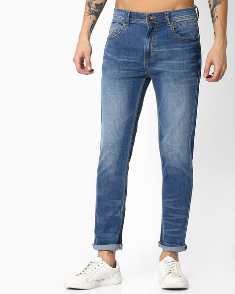 Slim Fit Denim By ADAMO LONDON ( Blue )