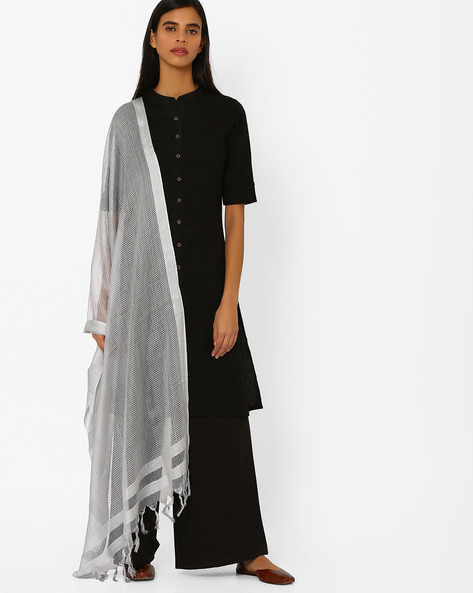 Tasseled Dupatta With Laser-Cut Detail By AURELIA ( Metsilver )