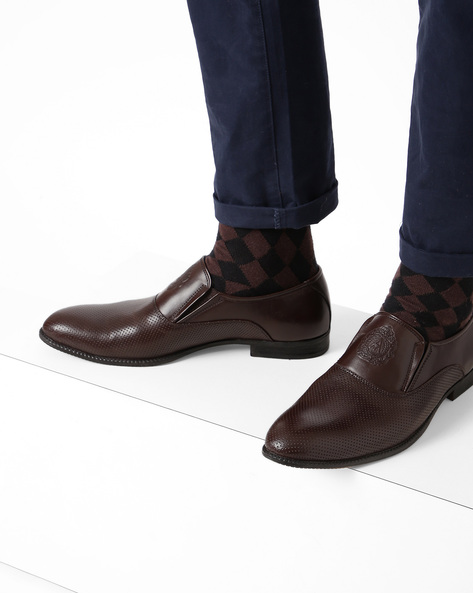 Slip-On Formal Shoes With Perforated Upper By ALBERTO TORRESI ( Brown )