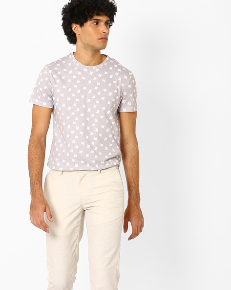 All-Over Print Crew-Neck T-shirt By AJIO ( Lightkhaki )