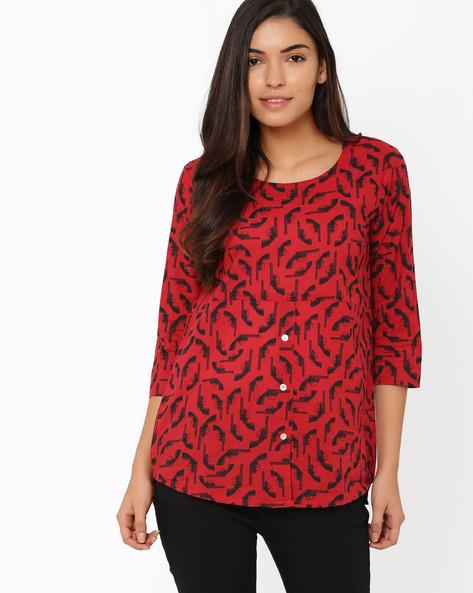 Printed Shirt By Akkriti By Pantaloons ( Red )