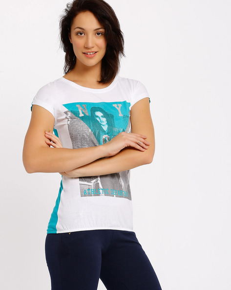 Graphic Print T-shirt By Ajile By Pantaloons ( White )