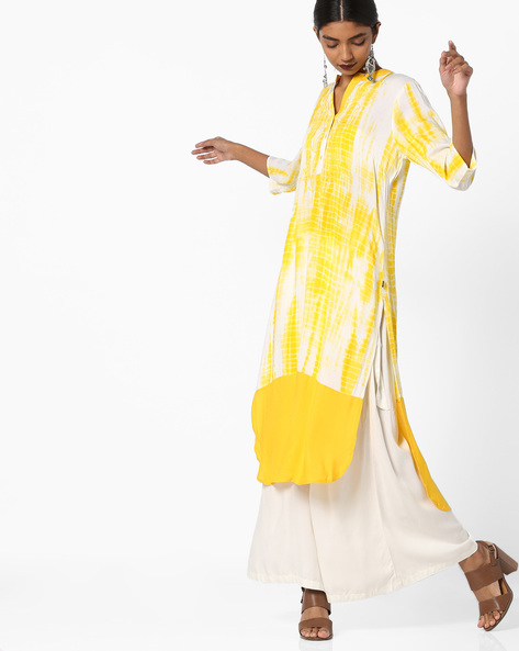 Embroidered Kurta With Shibori-Dyed Effect By Juniper ( Yellow )