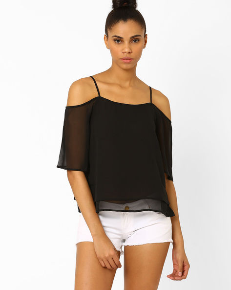 Layered Cold-Shoulder Top By Femella ( Black )